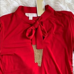NWT Michael Kors Bow Tie Blouse with Gold Chain